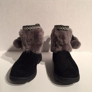 Ugg Karel Pom Pom Water Proof Suede Ankle Boots